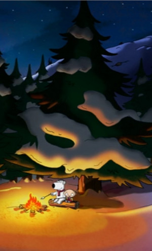 Stewie and Brian in snow near fire