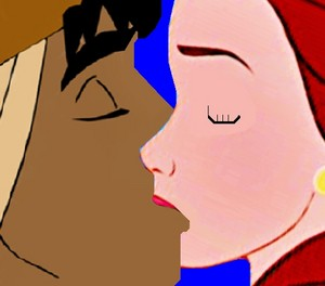 belle and aladdin kiss