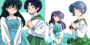 Akane and Kagome (switch school uniforms)