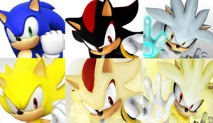 Sonic Shadow and Silver Super forms Same Pose SEGA Sonic Team