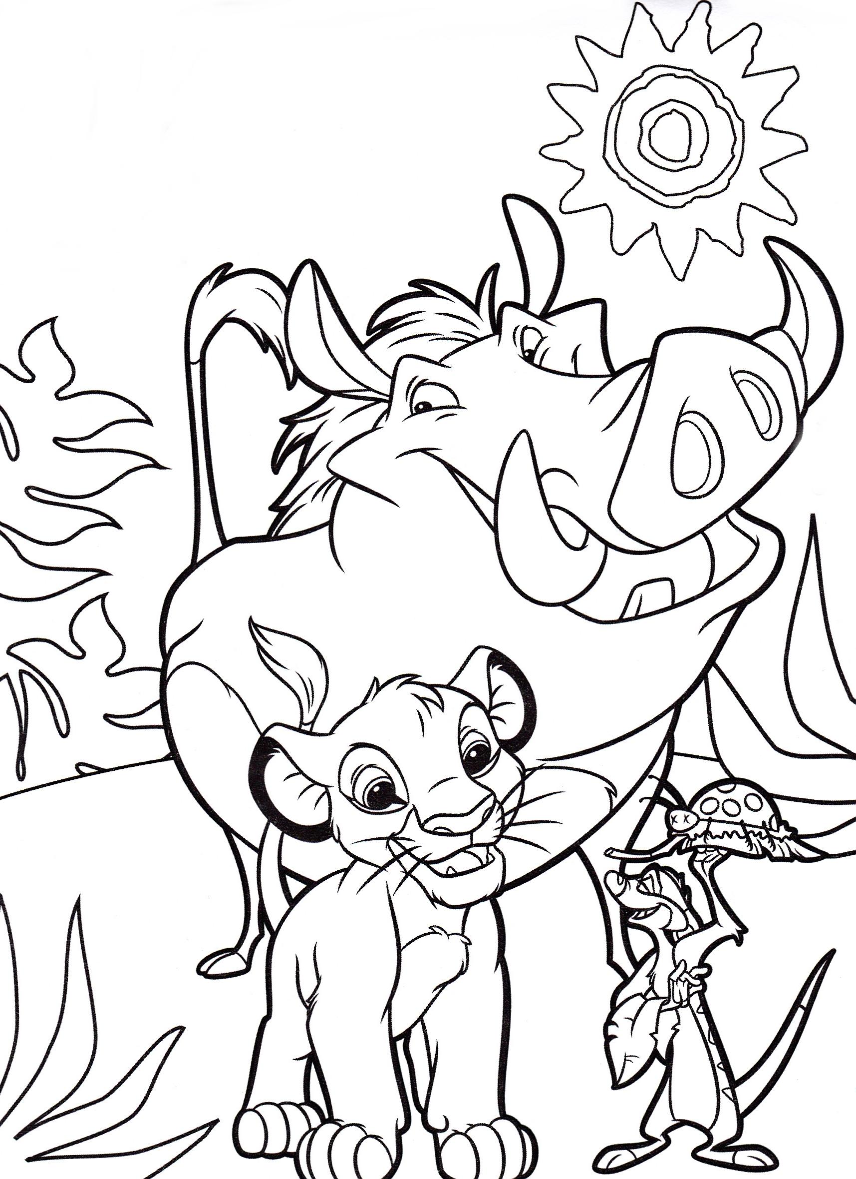Walt Disney Coloring Pages - Pumbaa, Simba & Timon ...