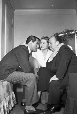 Cary Grant Ingrid Bergman and Alfred Hitchcock