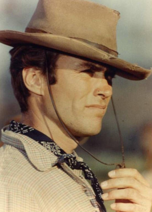 Clint Eastwood on the set of Rawhide