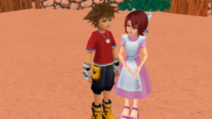 Sora and Kairi in KH1 Destiny Island Romantic Date.