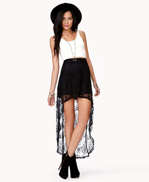 forever 21 black floral lace highlow skirt, upindo