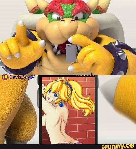 Bowser seeing Princess आड़ू, पीच Porn on his mobile phone