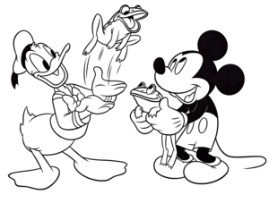 Walt Disney Coloring Pages – Donald anatra & Mickey topo, mouse