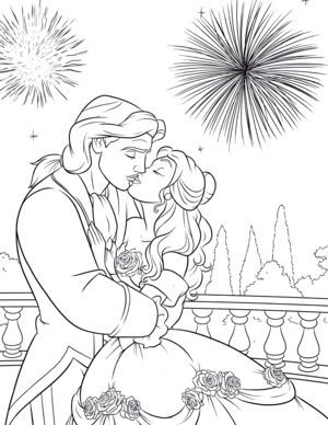 Walt 迪士尼 Coloring Pages – Prince Adam & Princess Belle