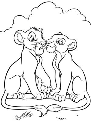 Walt Disney Coloring Pages - Simba & Nala
