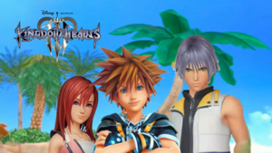 Kingdom Hearts III Destiny Islands Trios Sora, Kairi and Riku. logo
