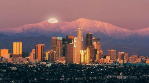 Los Angeles - Downtown Skyline, San Gabriel Mountains