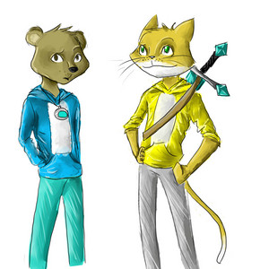 Drawing of STAMPY and LEE BEAR.