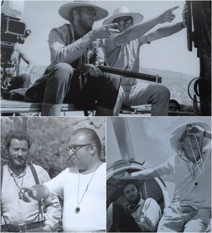 Sergio Leone, Clint Eastwood and Eli Wallach on the set of The Good the Bad and the Ugly