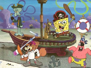 Spongebob and his vrienden as pirates