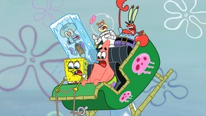 Spongebob and his বন্ধু in a sleigh