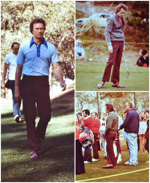 Clint Eastwood playing golf in Pebble spiaggia 1975