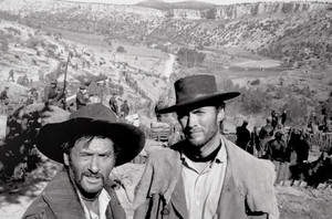 Clint Eastwood and Eli Wallach on the set of The Good The Bad and The Ugly