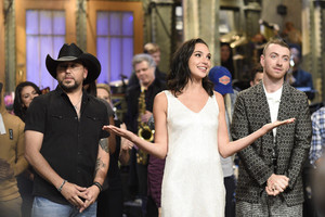 Gal Gadot Hosts SNL - October 7, 2017 - Gal with Jason Aldean and Sam Smith
