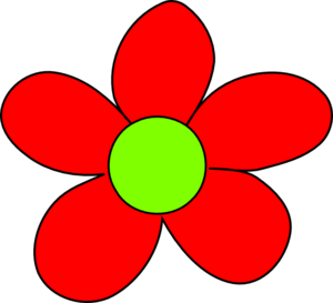 Hippie 花 Power Symbol (Red Flower)