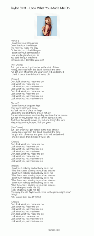 taylor swift look what you made me do lyrics