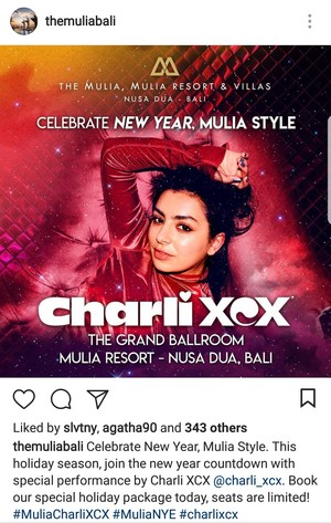 Charli XCX will perform at Mulia Bali for New Year's celebration!