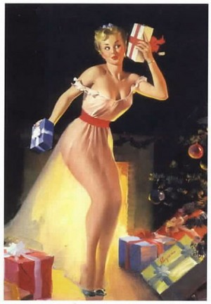 Vintage Christmas Pin Up Girl