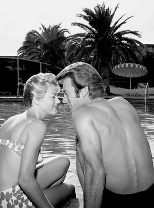Clint Eastwood and his wife Maggie poolside in Las Vegas November 1959