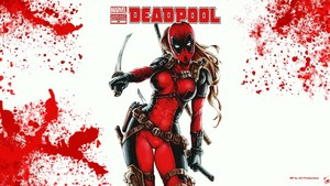 Lady  Deadpool Wallpaper - Blood Splatter 1