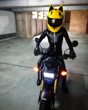 Celty Cosplay with my motorbike