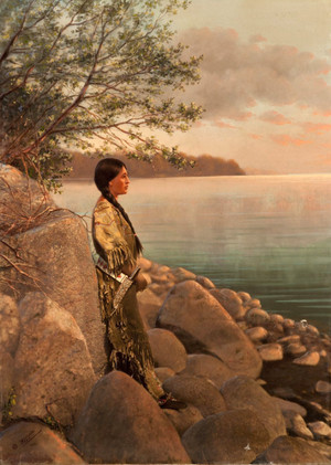 Handpainted print of a young woman Von the river (Early 1900s) Foto Von Roland W. Reed