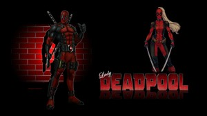 Lady Deadpool Wallpaper Brick Wall
