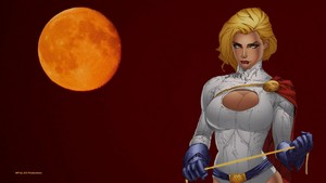 PowerGirl orange Moon Hintergrund