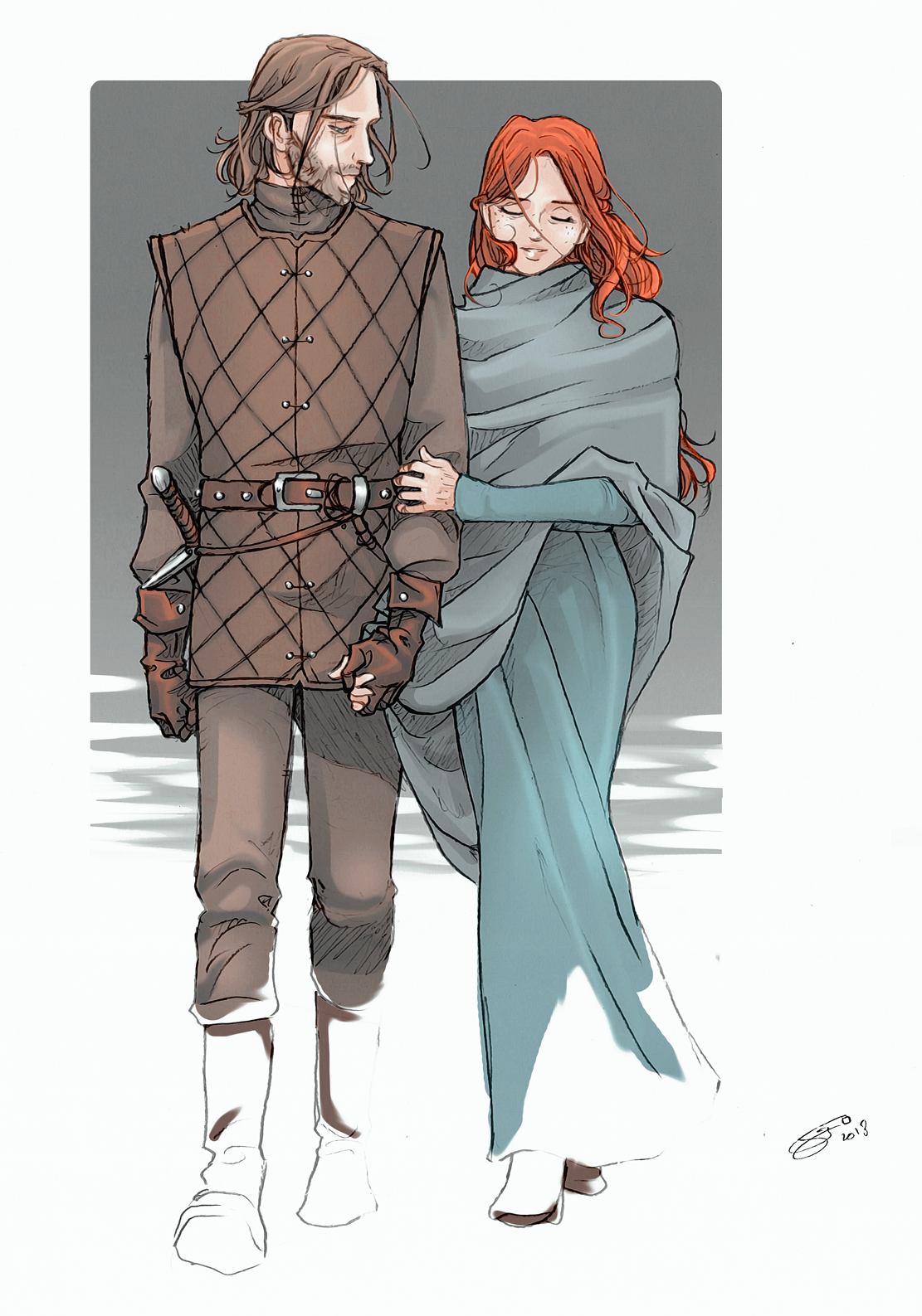 Young Ned and Catelyn by nami64