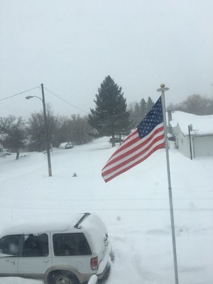 Flagpole in snowstorm