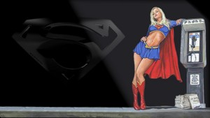 Supergirl Wallpaper Under A Street Light