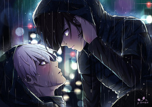 kaneki x touka under the rain door spukycat dbem1sy
