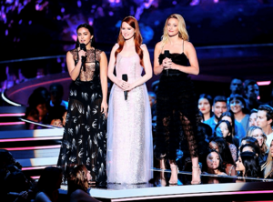 Lili, Camila and Madelaine Petsch present 'Best Performance in a Shaw' award at MTV Movie Awards