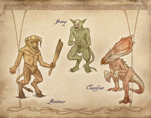 Oblivion Concept Art - Minotaur, Scamp and Clannfear