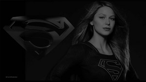 Supergirl In Black and White Wallpaper