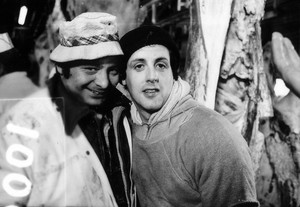 Sylvester Stallone and Burt Young on the set of Rocky (1976)