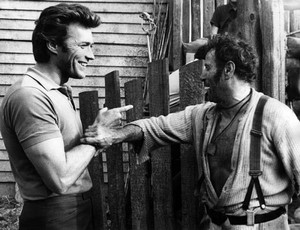 Clint Eastwood and Eli Wallach on the set of The Good, the Bad, and the Ugly (1966)