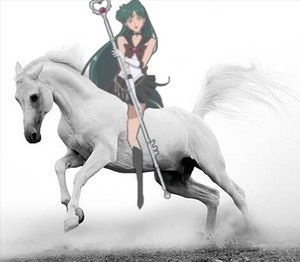 Sailor Pluto rides on her Beautiful White Stallion