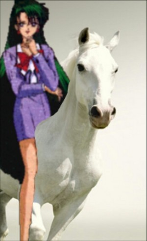 Setsuna Meiou rides on her Beautiful White Horse