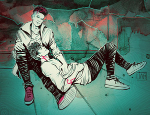 Alec/Magnus Fanart - At The Rooftop