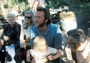 Clint Eastwood photographed on the set of High Plains Drifter with his wife Maggie and son Kyle 1972