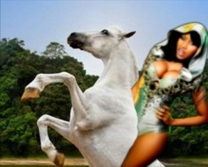 Nicki Minaj riding on her Beautiful White Horse
