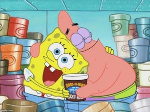 SpongeBob and Patrick with ice cream
