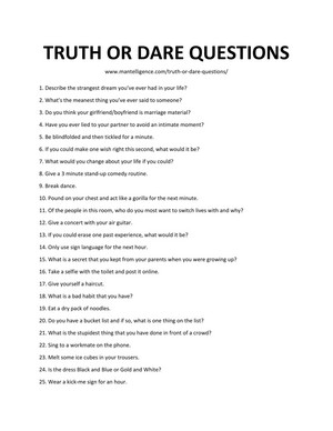 Truth ou Dare questions