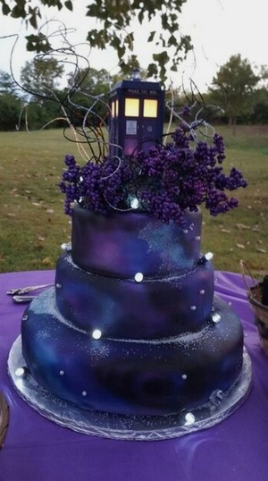 Pretty Purple TARDIS Wedding Cake