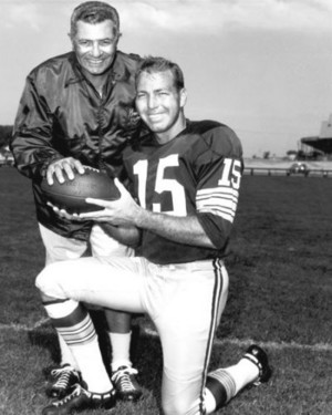 Bart Starr with Packers head coach Vince Lombardi in the 1960s